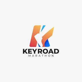 Estilo colorido do gradiente da letra k do logotipo