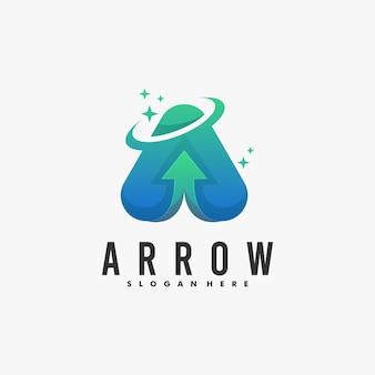Estilo colorido do gradiente da seta da ilustração do logotipo.