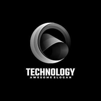 Estilo colorido do gradiente da tecnologia da ilustração do logotipo.