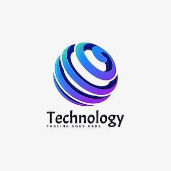 Estilo colorido do gradiente da tecnologia do logotipo.