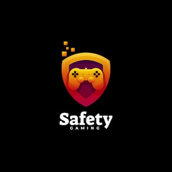 Estilo colorido do gradiente de segurança do logotipo.