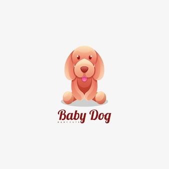 Estilo colorido do gradiente do cão do bebê do logotipo.