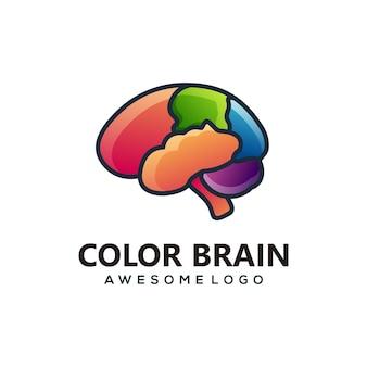 Estilo colorido do gradiente do cérebro da ilustração do logotipo do vetor