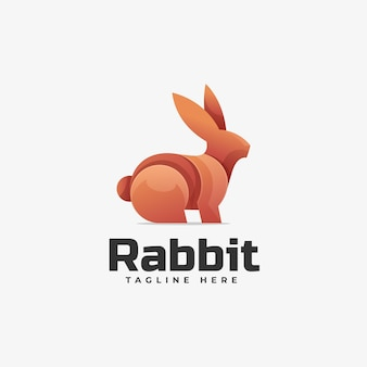 Estilo colorido do gradiente do coelho da ilustração do logotipo.