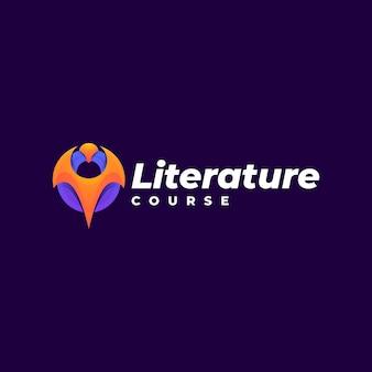 Estilo colorido do gradiente do curso de literatura do logotipo.