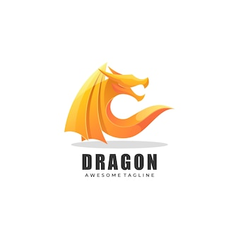 Estilo colorido do gradiente do dragão da ilustração do logotipo.