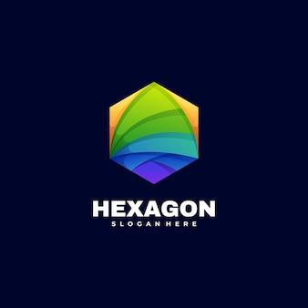 Estilo colorido do gradiente do hexágono da ilustração do logotipo.