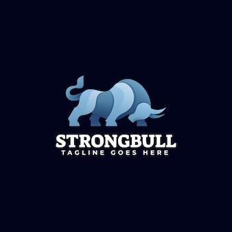Estilo colorido do gradiente do logotipo bull.