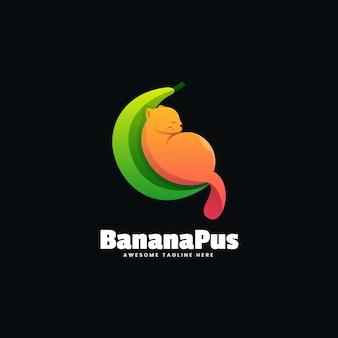 Estilo colorido do gradiente do logotipo da banana.