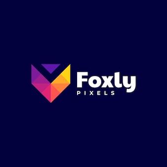 Estilo colorido do gradiente do logotipo da fox letter v