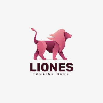 Estilo colorido do gradiente do logotipo da ilustração do leão.