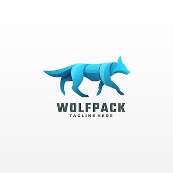 Estilo colorido do gradiente do logotipo da ilustração do lobo.