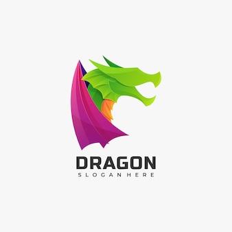 Estilo colorido do gradiente do logotipo do dragão.