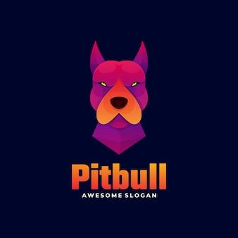 Estilo colorido do gradiente do logotipo do pitbull.