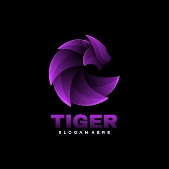 Estilo colorido do gradiente do logotipo do tigre.