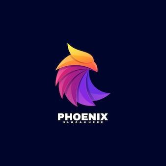 Estilo colorido do gradiente do logotipo phoenix.