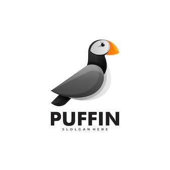 Estilo colorido do gradiente do papagaio-do-mar do logotipo do vetor.