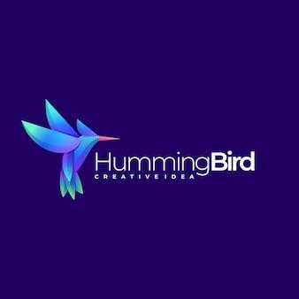 Estilo colorido do gradiente do pássaro do zumbido do logotipo.