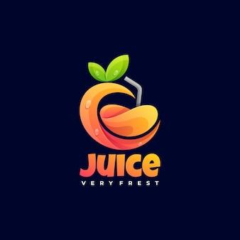 Estilo colorido do gradiente do suco da ilustração do logotipo.