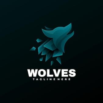 Estilo colorido do gradiente dos lobos da ilustração do logotipo.