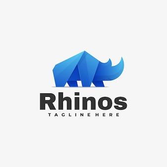 Estilo colorido do gradiente dos rinocerontes do logotipo do vetor.