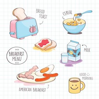 Estilo colorido doodle café da manhã.