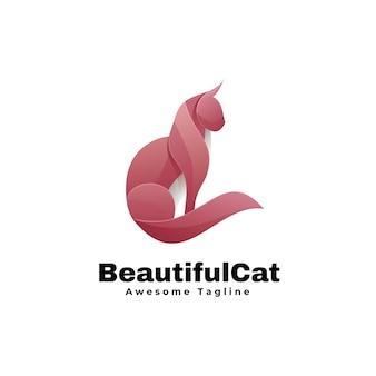 Estilo colorido gradiente bonito do logotipo do gato.