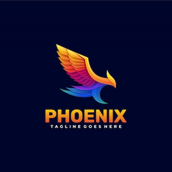Estilo colorido gradiente de logotipo phoenix.