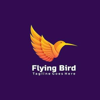 Estilo colorido gradiente de pássaro voador de logotipo.