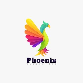 Estilo colorido gradiente de phoenix do logotipo do vetor