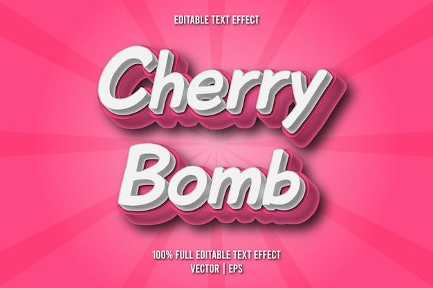 Estilo cômico com efeito de texto editável da bomba cereja