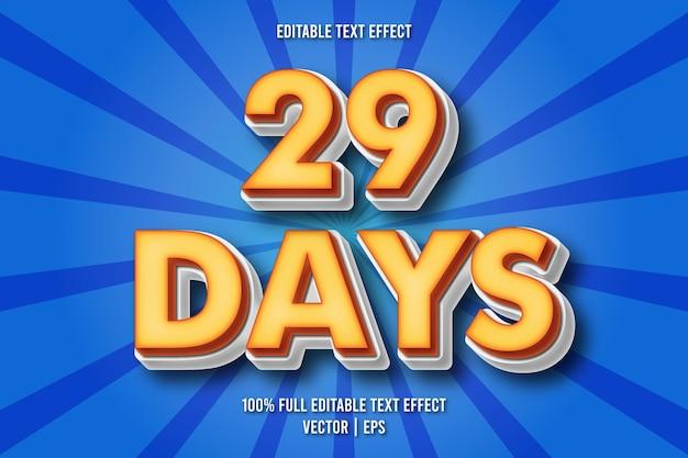 Estilo cômico com efeito de texto editável de 29 dias
