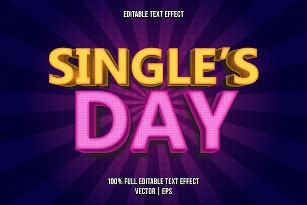 Estilo cômico com efeito de texto editável de dia de solteiro