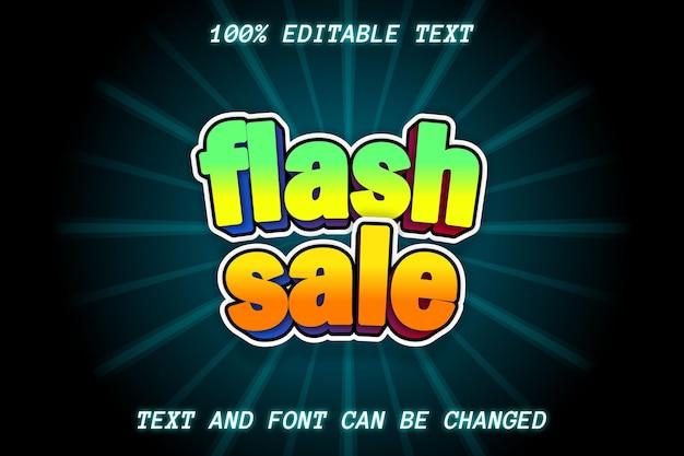 Estilo cômico com efeito de texto editável de venda em flash