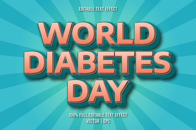 Estilo cômico com efeito de texto editável do dia mundial da diabetes