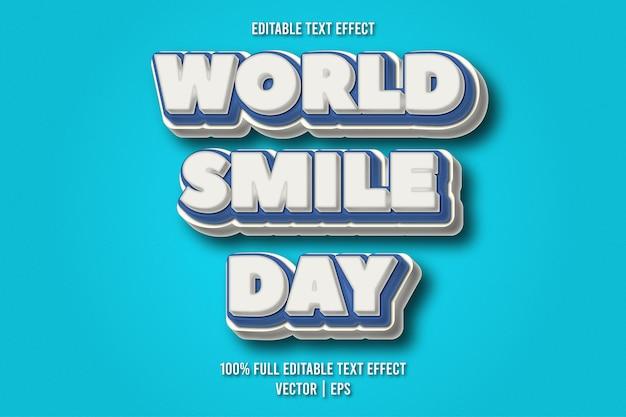 Estilo cômico com efeito de texto editável do dia mundial do sorriso