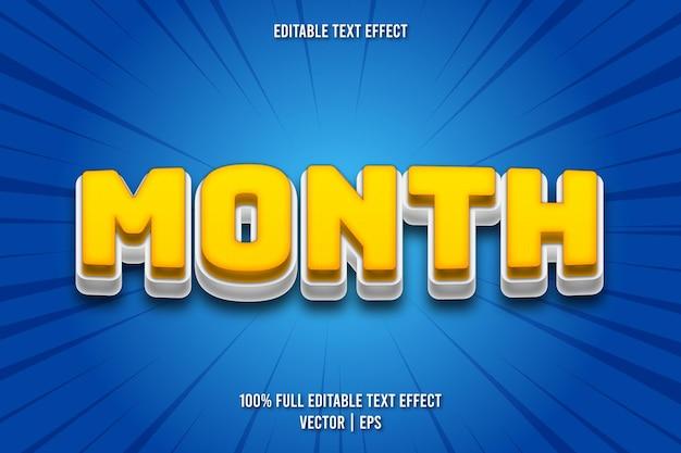 Estilo cômico com efeito de texto editável do mês