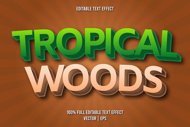 Estilo cômico com efeito de texto editável em madeiras tropicais