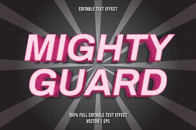 Estilo cômico com efeito de texto editável mighty guard
