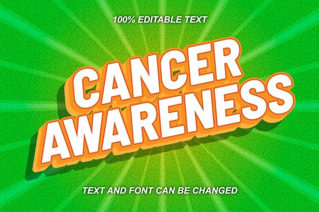 Estilo cômico de efeito de texto editável da conscientização do câncer