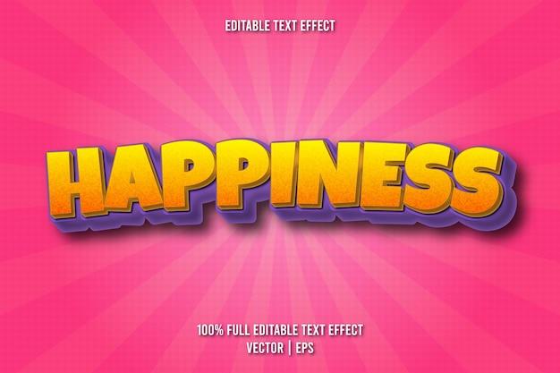 Estilo cômico de efeito de texto editável de felicidade