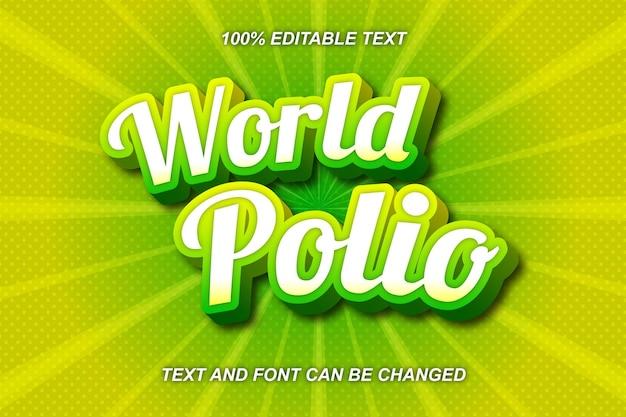 Estilo cômico do efeito de texto editável da world polio