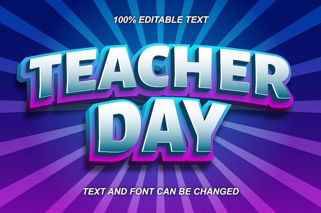 Estilo cômico do efeito de texto editável do dia do professor