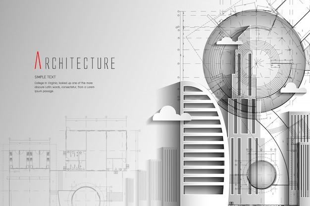Estilo da arte de background.paper da arquitetura e do modelo.
