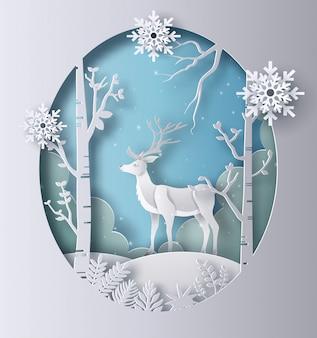 Estilo da arte de papel de uma rena que está em uma floresta.