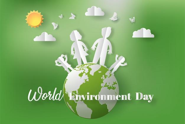 Estilo da arte de papel do conceito do dia de ambiente de mundo.