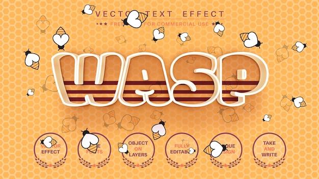 Estilo da fonte editável do efeito do texto do wasp