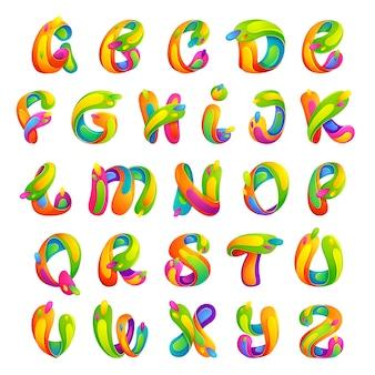 Estilo da fonte, efeito de texto, letras coloridas.