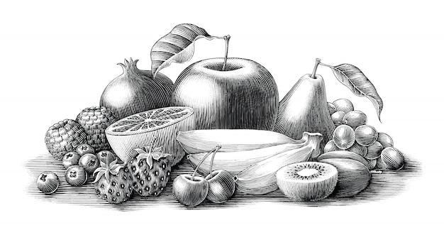 Estilo da gravura do vintage da ilustração das frutas preto e branco, isolado.