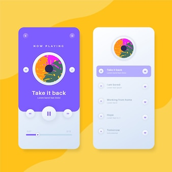 Estilo da interface do aplicativo music player